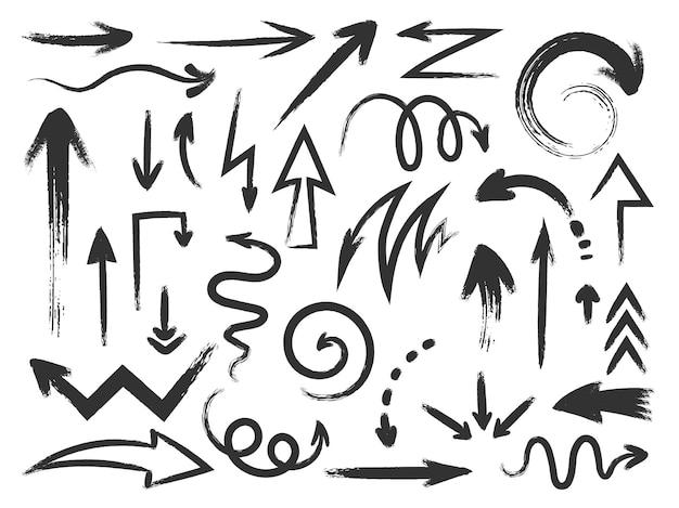 Стрелка гранж. зигзагообразные стрелки с грубой текстурой и изогнутые указатели направления. каракули краска инсульта и эскиз каракули стрелка кисти векторный набор. иллюстрация грубой тушью, кисть для рисования