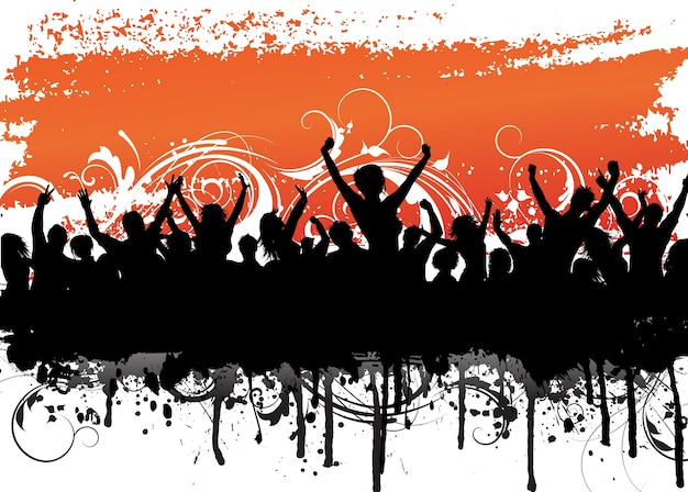 Grunge background with a silhouette of an excited audience