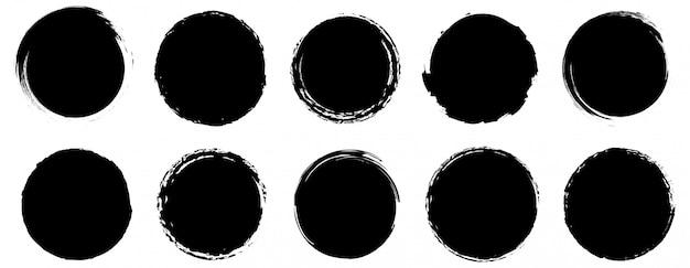 グランジバナーコレクション。丸い丸い形の大きなセット。ベクター