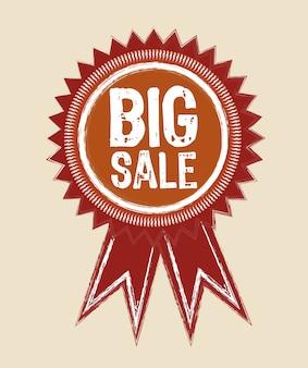 Grunge big sale ribbon isolated vector illustration