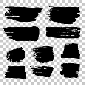 Grunge black brush strokes set