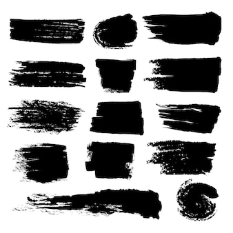 Grunge black brush strokes set