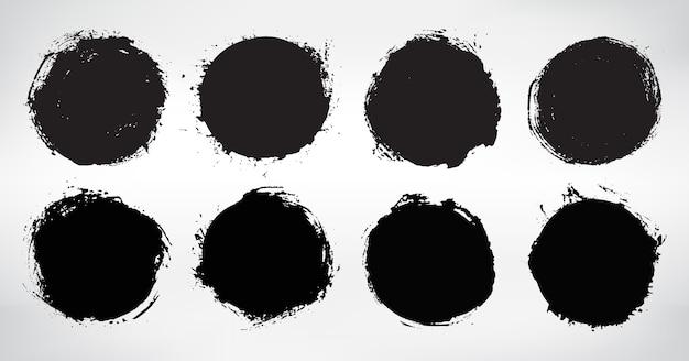 Набор гранж черные круглые рамки