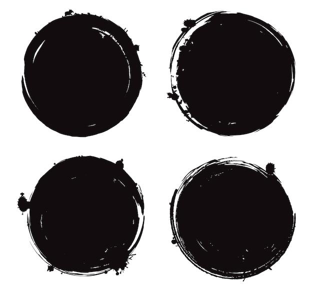 Гранж черные круглые рамки