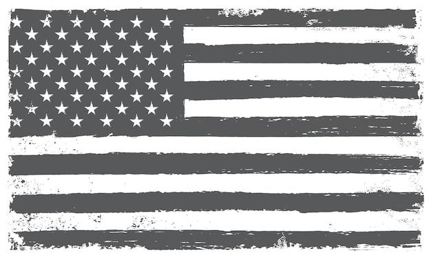 Grunge black and white american flag