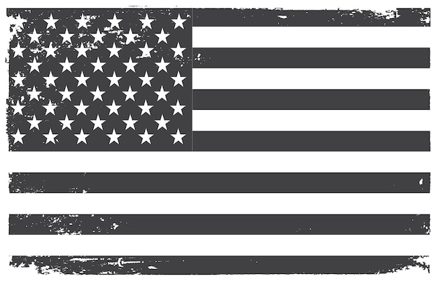 Grunge black and white american flag