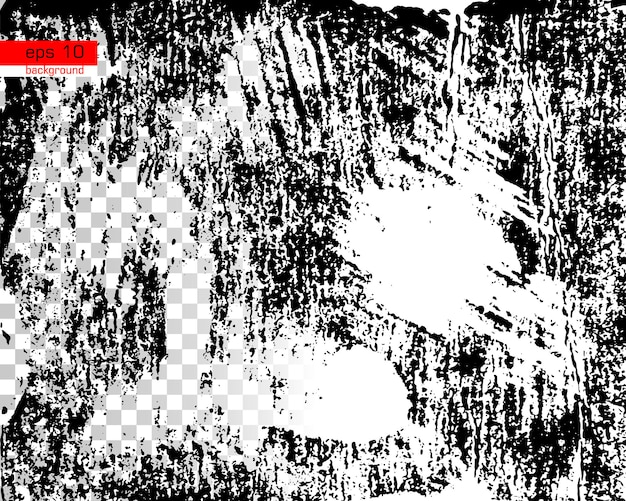 Grunge black and white urban vector texture template on transparent and white background