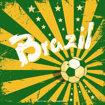 Grunge brazil background with a soccer ball