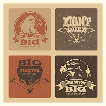 Grunge cards set with eagle logo set