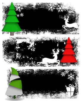 Grunge christmas banners abstract background
