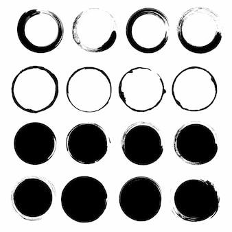 Grunge circle brush ink frames set. vector set