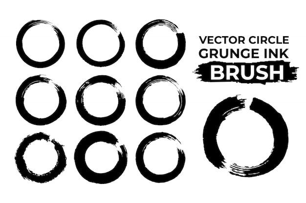 Grunge circle dry ink enso brush vector set