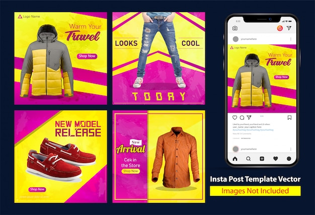 Grunge clothes sale square insta banner design with yellow and purple color gradation