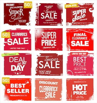 Grunge collection of sale background
