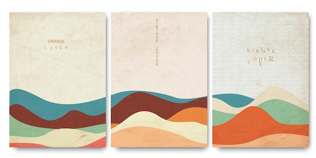 Grunge covers templates set with japanese waves patterns and geometric curve hand drawn shapes