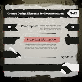 Grunge design elements for documentation set