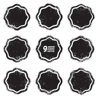Grunge design textured badges vector set