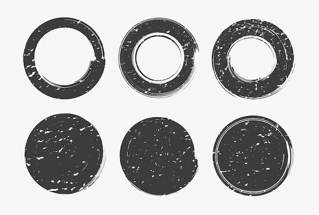 Grunge distressed round stamp set