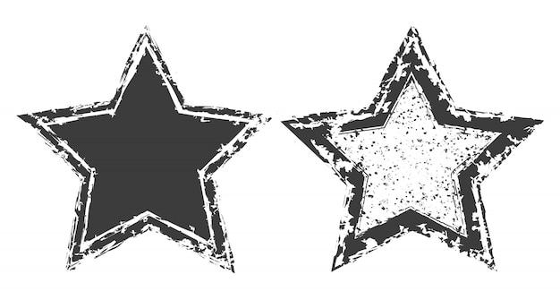 Grunge distressed stars set
