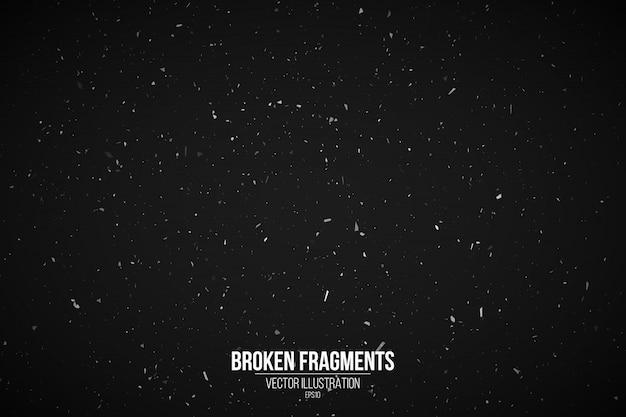 あなたのデザインの黒の背景にグランジ効果。スプラッシュの背景。白い粒子と断片。レトロなフィルムの背景。ベクトルイラスト