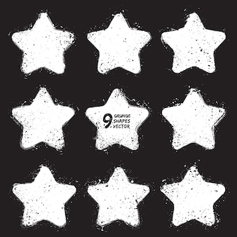 Grunge elements stars vector set