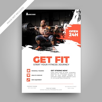 Grunge fitness flyer template