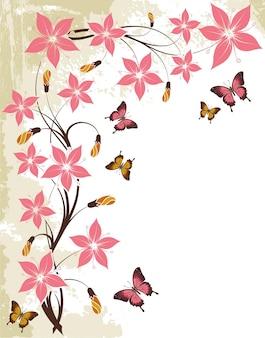 나비, 디자인, 일러스트 레이 션에 대 한 요소와 그런 지 꽃 배경
