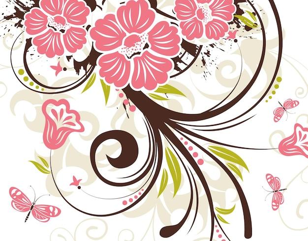 蝶とグランジ花の背景、デザインの要素、ベクトル図