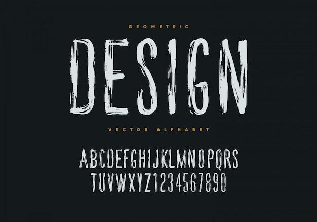 グランジフォントデザイン。手描きスタイルの幾何学的なアルファベットと数字。