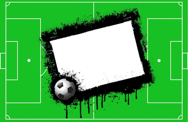 Grunge football pitch background with space for text