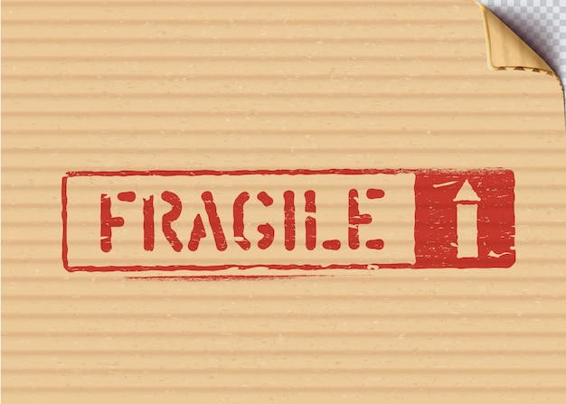Grunge fragile box sign for logistics or cargo