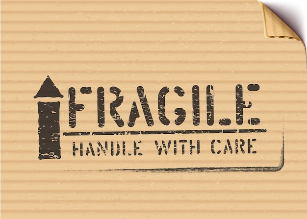 Grunge fragile box sign with arrow up for logistics or cargo