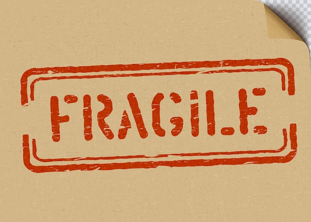 Grunge fragile on cardboard background for logistics or cargo. means do not crush, handle with care. vector illustration box sign with bent craft paper corner