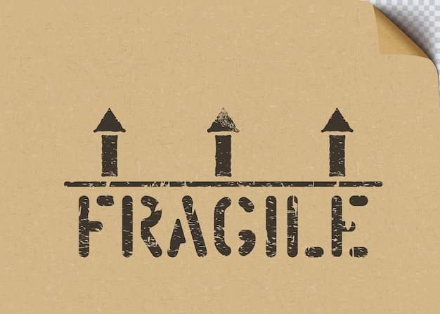 Grunge fragile cargo box sign with arrows on craft cardboard paper background for logistics