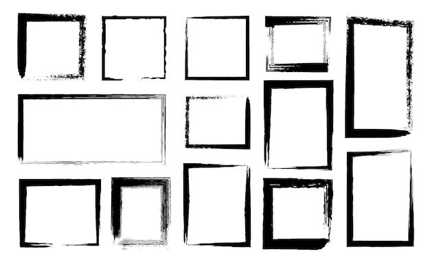그런 지 프레임입니다. 검은색 페인트 브러시 획이 있는 더러운 테두리입니다. 조난 텍스처가 있는 잉크 직사각형 가장자리. 거친 선 스케치 사각형 벡터 세트입니다. 일러스트 배너 프레임 지저분한 텍스처 컬렉션