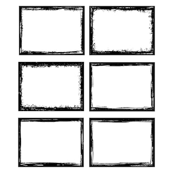 Grunge frames ink brush stroke border artistic paint frame elements set