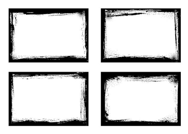 Grunge frames isolated black borders of rectangular shape