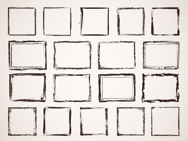 Гранж-кадры. царапины набросал иллюстрации гранж грубая граница кадра, эскиз текстуры