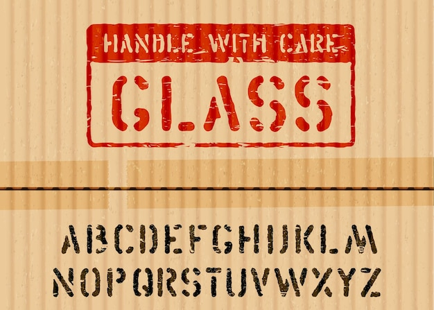 Grunge glass box sign on piece of cardboard for logistics or cargo and alphabet. means fragile, handle with care. vector illustration