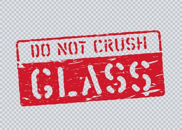 Grunge glass pictogram on transparent background and alphabet. fragile, do not crush box sign for cargo. vector illustration