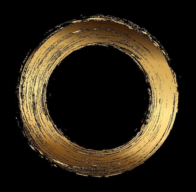 Grunge golden round frame