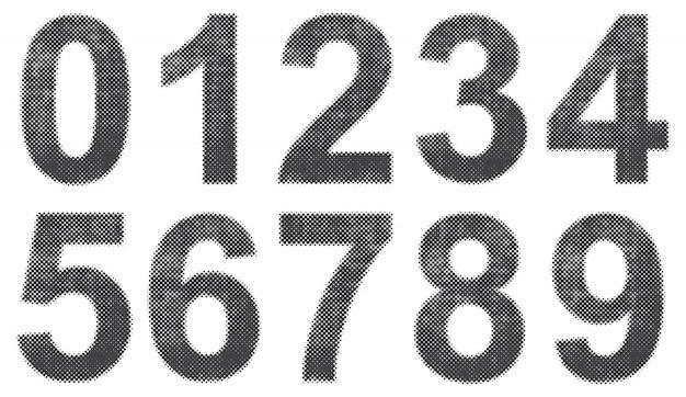 Grunge halftone numbers