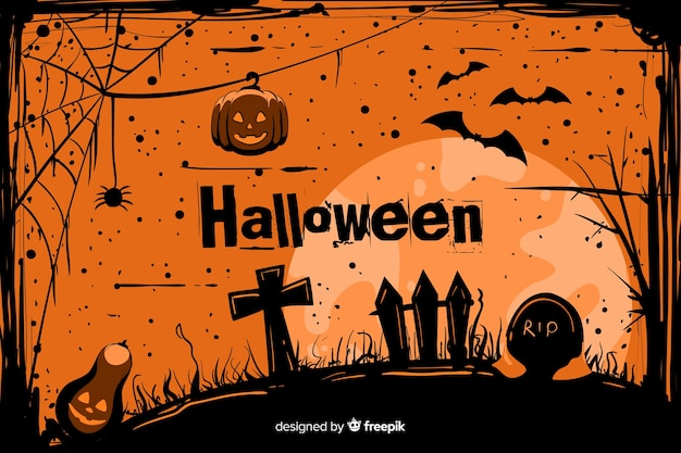 Grunge halloween background in a cemetery