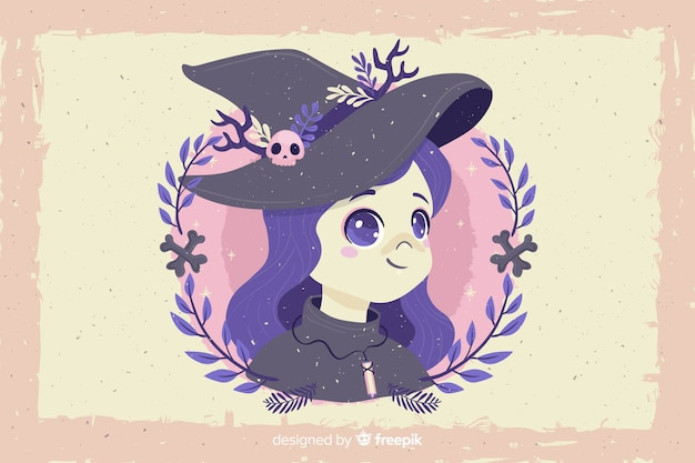 Grunge halloween background and witch avatar
