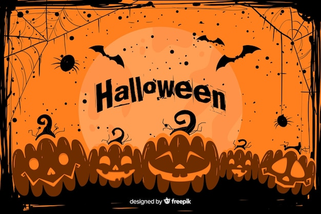 Grunge halloween background with army of pumpkins