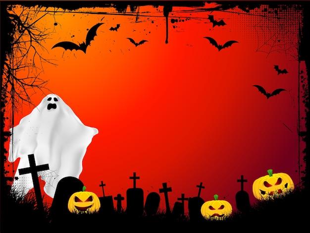 Гранж-фон хэллоуина со злыми тыквами и страшным призраком