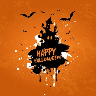 Grunge halloween background with haunted house and bats