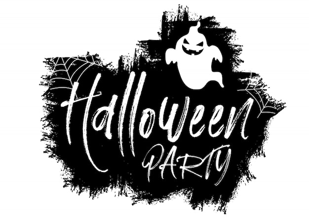 Grunge halloween background with text and ghost