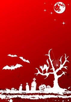 Гранж-фон хэллоуина с деревом и луной, элементом дизайна, векторные иллюстрации