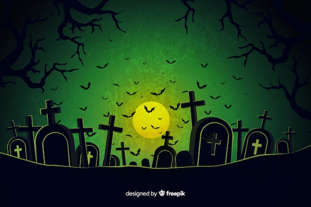Grunge halloween cemetery background